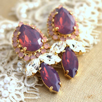 Golden chandelier Rhinestone post earrings Purple violet Opal blush pink - 18k gold plated earrings real swarovski rhinestones.