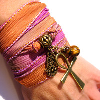 Silk Wrap Bracelet with Ankh, Hamsa or Hand of Fatima and Genuine Tiger Eye Protective Amulets