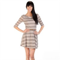 As U Wish Juniors Metallic Striped Fit-and-Flare Dress with Belt at Von Maur