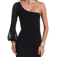 TEXTURED ONE SHOULDER BODY-CON DRESS