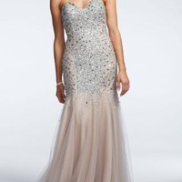 Tulle Fit and Flare Gown with Sweetheart Neckline - David's Bridal - mobile