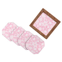 Lisa Argyropoulos Snow Flurries in Pink Coaster Set