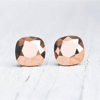 Rose Gold Metallic Earrings Swarovski Crystal Rose Gold Metallic Square Stud Earrings Mashugana
