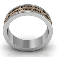 14k two tone white and rose gold two row Da Vinci cryptex, codex, decoder ring LB-2024-5.