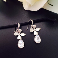 Flower and Clear Swarovski Crystal Teardrop earrings – Dangle earrings – Wedding jewelry- Bridal earrings