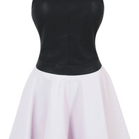 Clothing : Structured Dresses : 'Manhattan' Halterneck Leatherette Skater Dress