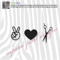 Peace Love Shears Cosmetology Decal - Your Choice of Color