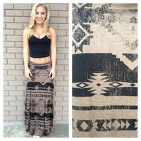Mocha & Black Tribal Roll Down Maxi Skirt
