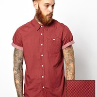 ASOS Shirt In Short Sleeve With Double Polka Dot Print