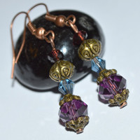 BUY ANY 4-Choose 1 FREE Purple crystal earrings bronze vintage style chic earrings affordable bridesmaid gift