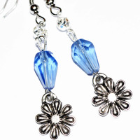 Silver flower charm earrings blue drop earrings bridesmaid gift casual boho earrings affordable gift