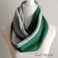 Slytherin Inspired Fleece Infinity Scarf, Harry Potter Hogwarts House Scarf, Green and Grey Fleece Scarf