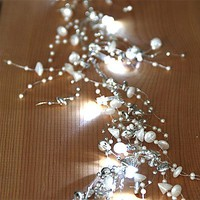 5 Foot Pearl and Silver Beaded Garland - 20 Cool White LED'S