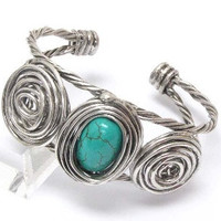 Turquoise center wire art adjustable bracelet