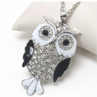 Black white and crystal deco owl necklace