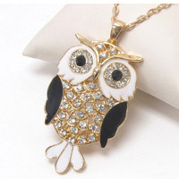 Black gold and white crystal eyed owl necklace