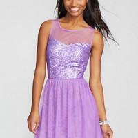 Mesh Sequin Skater Dress