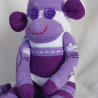 sock monkey, stuffed animal - white and purple monkey
