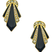Yochi White Opal Crystal and Black Enamel Earrings - Max & Chloe
