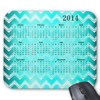 Turquoise and White Chevron pattern Calendar 2014 Mouse Pads