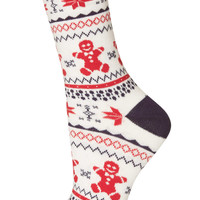 Gingerbread Fairisle Ankle Socks