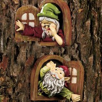 SET OF 2 WINDOW GNOME TREE DECOR- Add Whimsical Charm To Your Garden