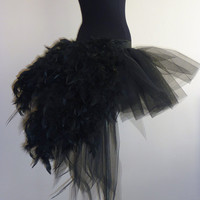 Black tutu skirt Burlesque Moulin Rouge size 6 12 feathers