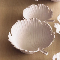 Roost Porcelain Palm Leaf Bowls in White at Velocity Art And Design