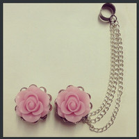 Rose Filigree Ear Plugs with Ear Cuff