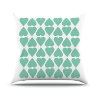 "Kess InHouse Diamond Hearts Throw Pillow - Color: Mint, Size: 26"" H x 26"" W"