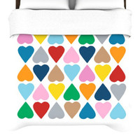Kess InHouse Diamonad Hearts Duvet Cover - Color: Multi, Size: King