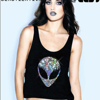 Holographic She-Alien cropped tank