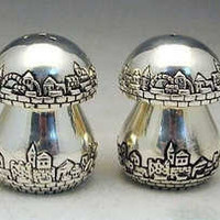 Fine Sterling Silver Jerusalem Salt Pepper Shakers Set - Tel-Aviv