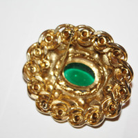 Vintage Red Green Cabochon Brooch 1950s Jewelry Christmas Jewelry