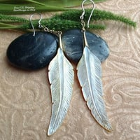 "Tribal Hanging Earrings, ""Shell Feathers"" Naturally Organic, Mother of Pearl, Brass Chains, Sterling Hooks, Hand Carved"