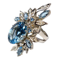 Aquamarine & Diamond Platinum Cocktail Ring