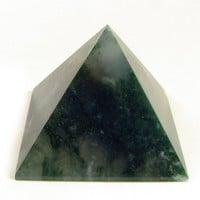 Moss Agate Carved Pyramid