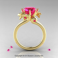 Art Masters 18K Yellow Gold 3.0 Ct Pink SapphireDragon Engagement Ring R601-18KYGPS
