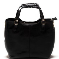 Sonia Ricci Genuine Leather Braided Handles Tote Made In Italy - Everyday Carryall - Modnique.com