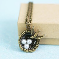 Bird's Nest Necklace - Bronze