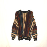 Oversize Sweater Cosby Coogi Style Cable Knit Pullover Colorful Striped Winter Thick Cozy Outerwear Vintage Womens Mens Unisex Sweater