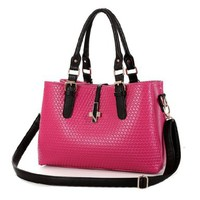 Elegant Sweet Candy Color Wavy Emboss Shoulder Bag Handbag