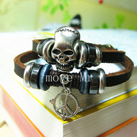 Skeleton studs leather wrap bracelet, peace pendant leather bracelet,women leather bracelet,mens leather bracelet,Christmas gift M-328