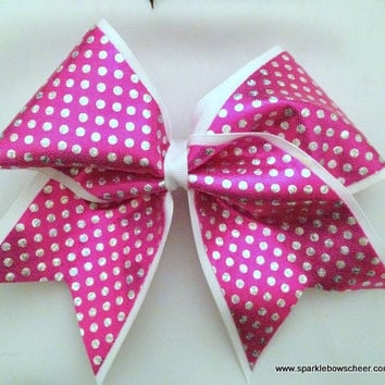 Bubble Gum Pink with Silver Dots Large Cheer Bow Hair Bow Cheerleading