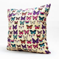 Home Decorative Housewares Throw Pillow Colorful Butterfly Pillow Cover Canvas Cushion Case Hidden Zipper Closure Customized Handmade 1717
