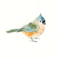 TITMOUSE -Art Print-Bird Watercolor Print-Giclee Print-