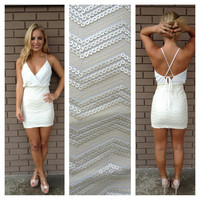 Cream Sequin Zig Zag Cross Back Mini Dress