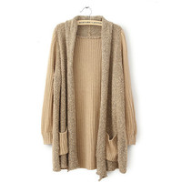 Loose Long Style Khaki Knit Warm Open Cardigan Sweater