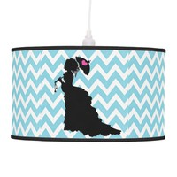 Victoria Blue & White Chevron Hanging Lamp
