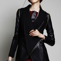 Utility Paneled PU Coat